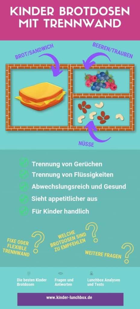 Infografik mit Vorteilen einer Kinder Brotdose mit Trennwand