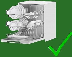 Spülmasschine mit grünem Haken