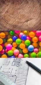 Material, bunte Bälle und Design-Skizze
