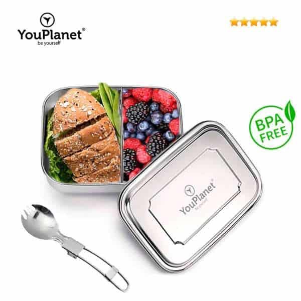 Youplanet Kinder Lunchbox aus Edelstahl mit Besteck