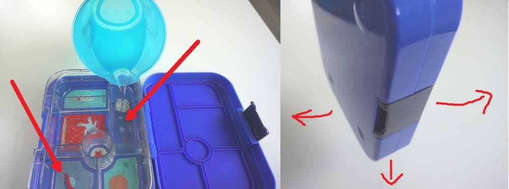 Test der YumBox Auslaufsicherheit mit Wasser