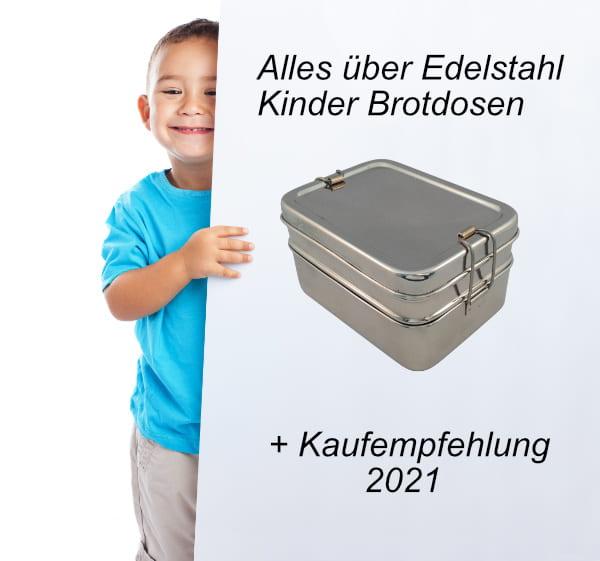 Kind hinter einem Banner mit einer Edelstahl Brotdose