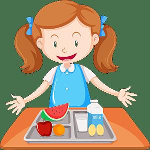 Mächen mit einer Lunchbox und Mahlzeit